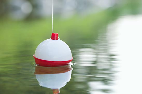 Red and white bobber floating in lake